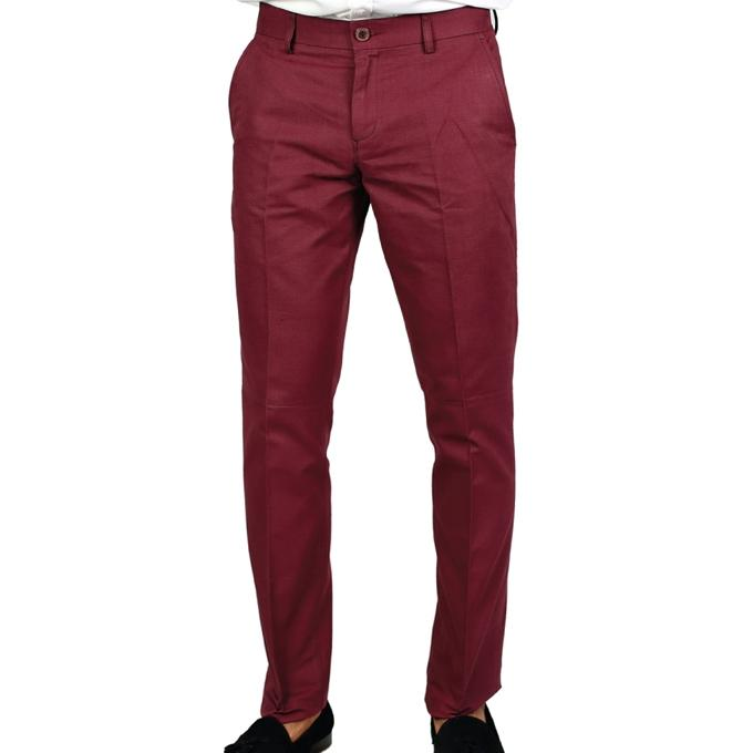 Red Twill Formal Pant For Men
