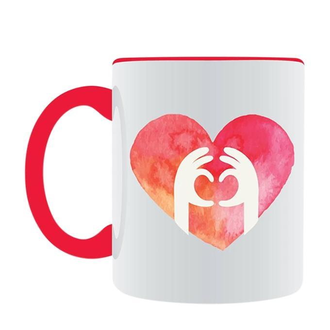 Hand Spane Love Ceramic Mug - White