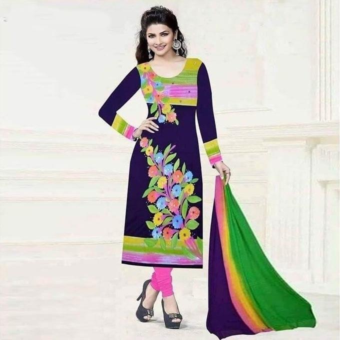 Purple Cotton Un-stitched Block Printed Shalwar Kameez For Women