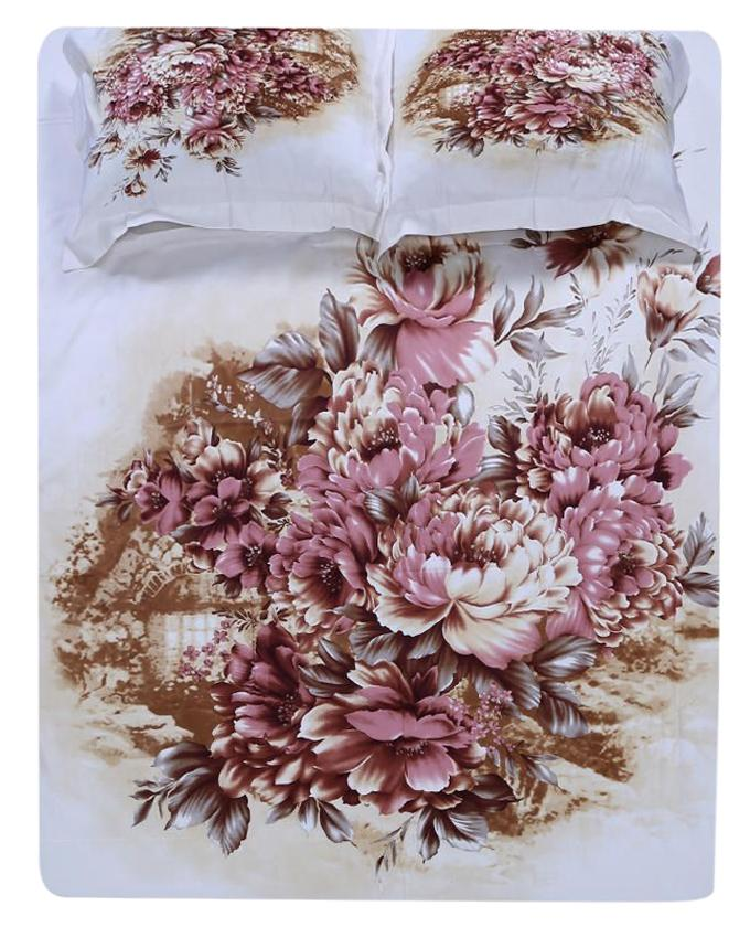Cotton Printed Bed Sheet - White and Light Brown