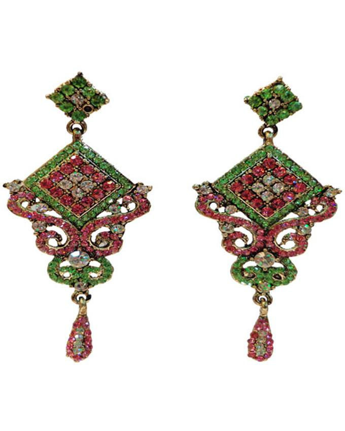 Golden Body Stone Earings - Green, Pink and White