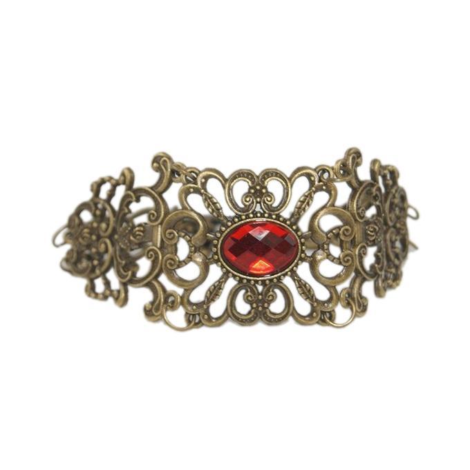 Golden Zinc Alloy Red Stone Bracelet For Women