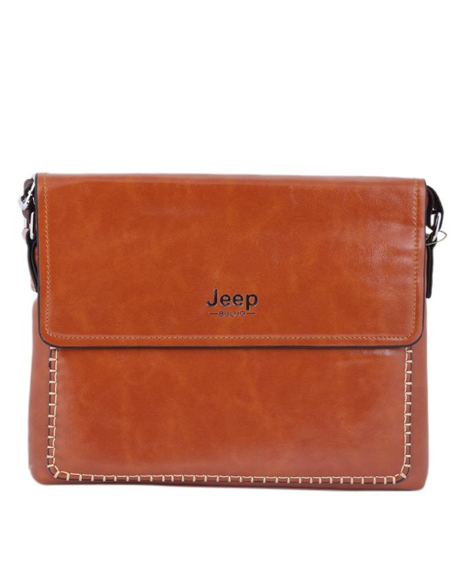 PU Leather Messenger Bag For Men - Brown