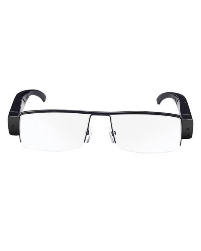 Clear Eye Glasses with Hidden Camera - Black