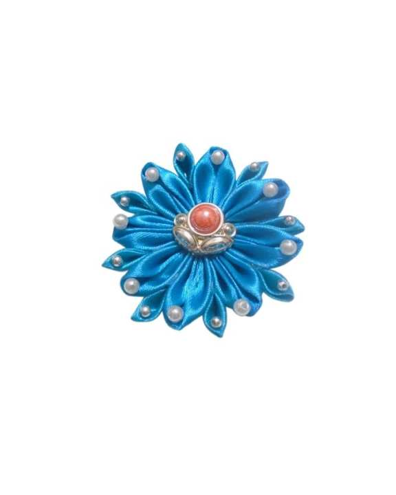 Blue Fabric And Beads Hijab Brooch For Women