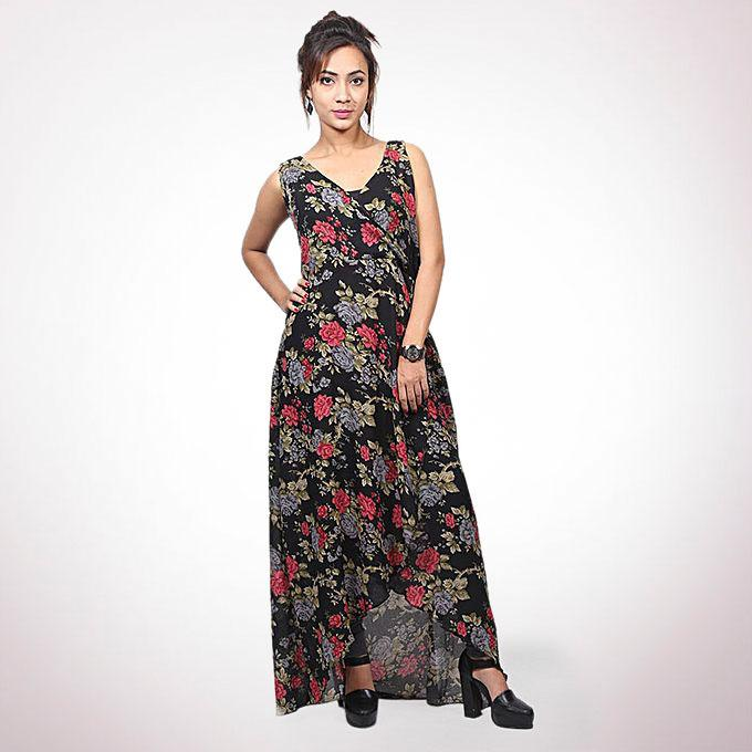 Black And Maroon Double Georgette Top For Women