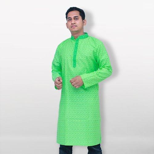 Lime Green Cotton Casual Panjabi For Men