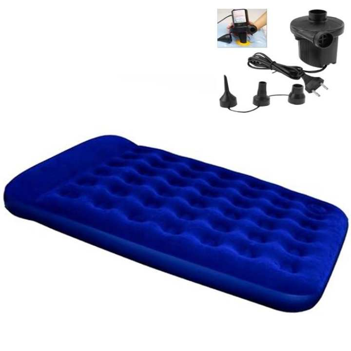 Portable Inflatable Double Air  Bed With Pumper- Blue