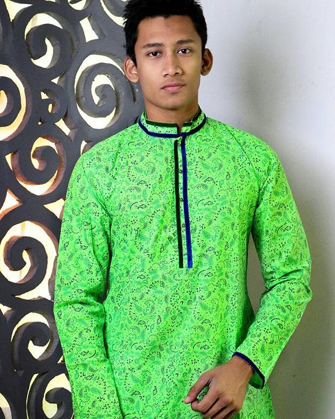 Cotton Panjabi For Men - Pale Green