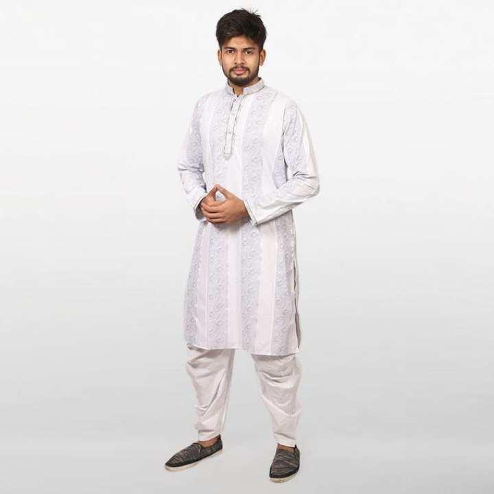 Gray And White Braso Cotton Panjabi for Men