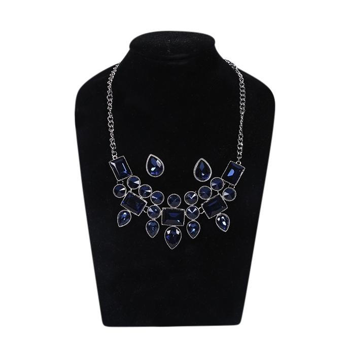 Navy Metal And Stone Jewellery Set For Women