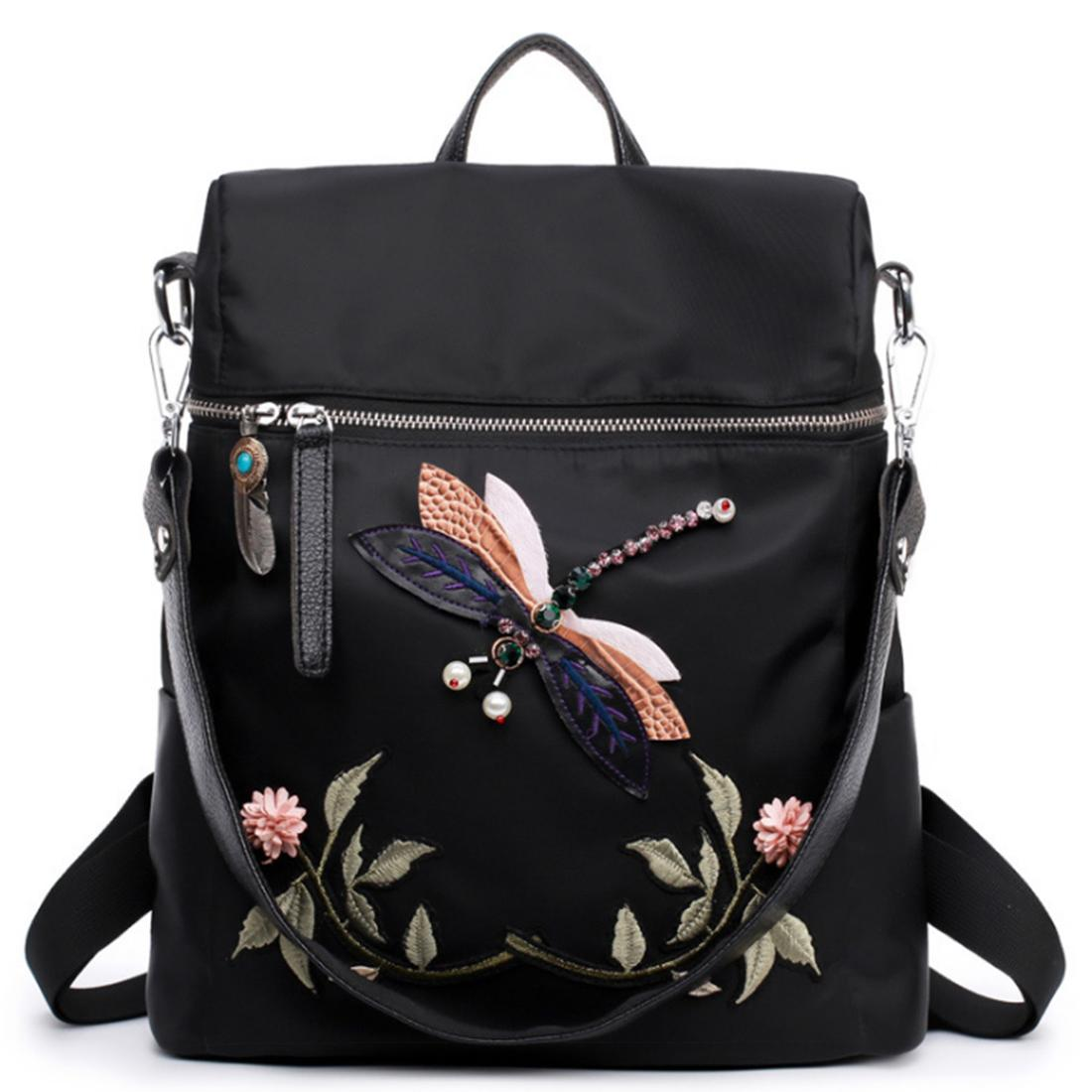Dragonfly Embroidery Pattern Oxford Cloth Backpack Casual Travel Shoulders Bag - Black