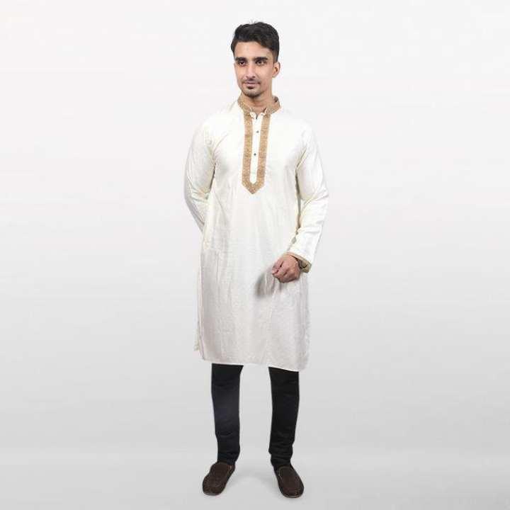 White Jute Cotton Panjabi For Men