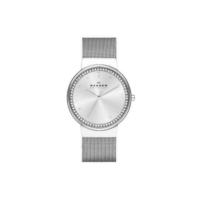 Stainless Steel Mesh SKW2152 Ancher Wrist Watch - Silver