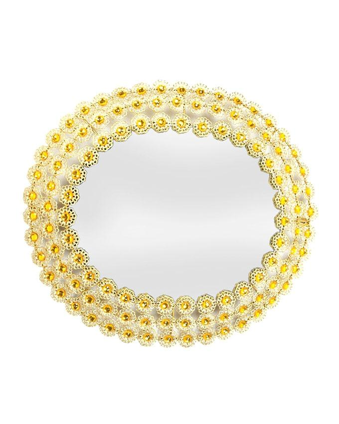 Round Metal Accent Wall Mirror With Filigree & Stones Frame - Gold