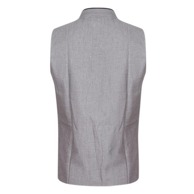 Gray Cotton Casual Ethnic Vest For Men