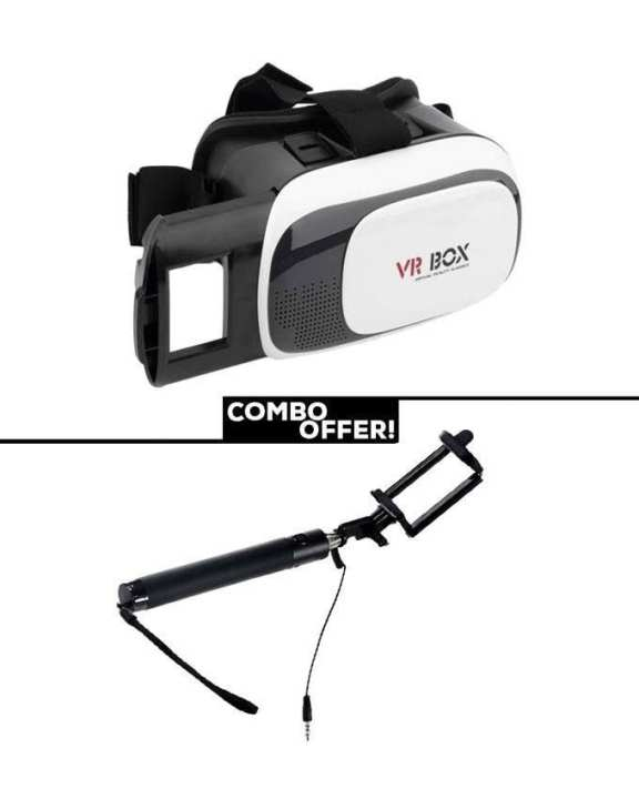 Combo of VR BOX 3D Smart Glass with Selfie Stick