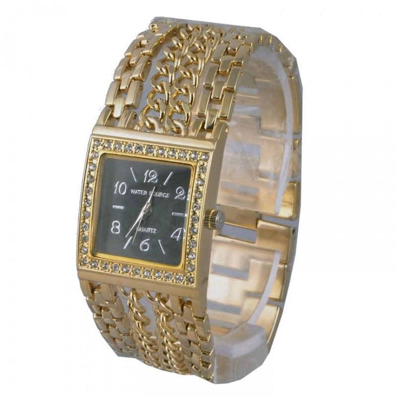 Stainless Steel Analog Watch for Women - Golden