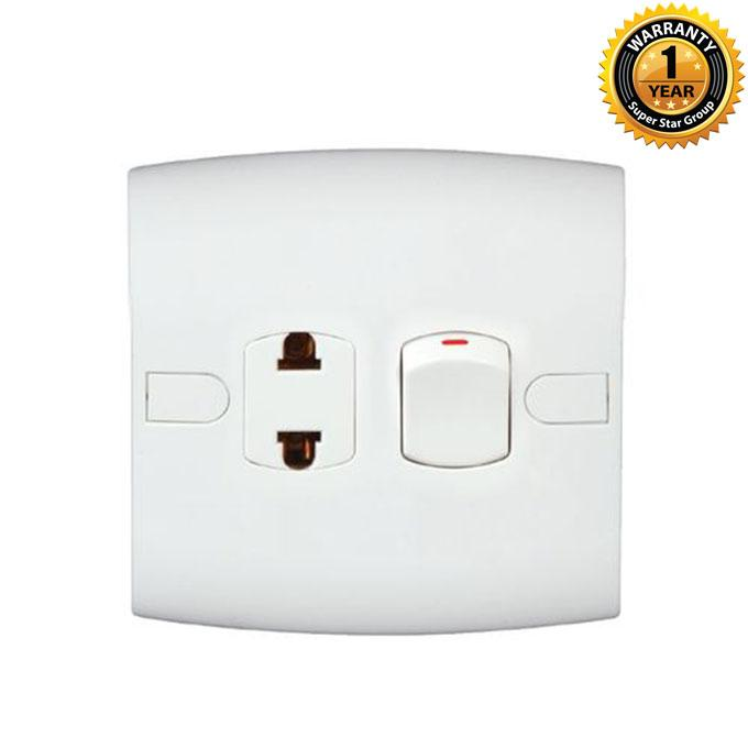 Safe Series Safe Socket 2 Pin With Switch - White