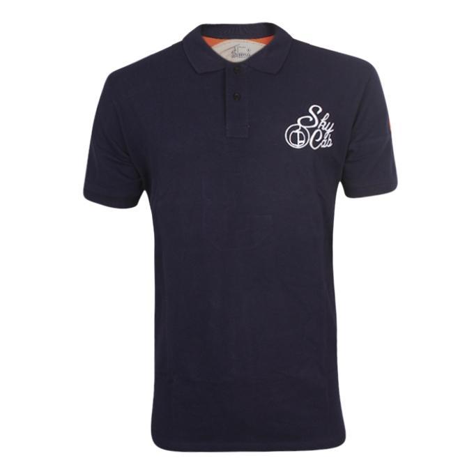 Navy Blue Cotton Polo for Men