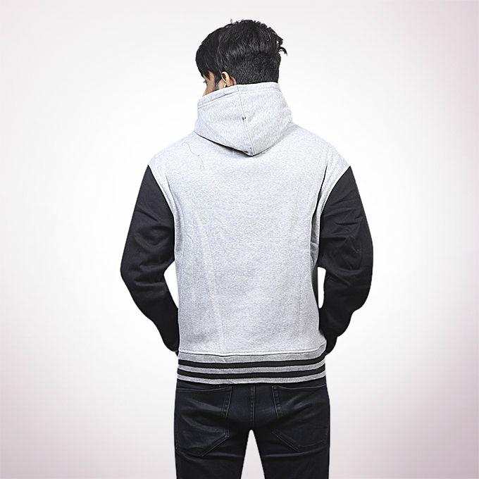 Grey and Black Cotton Hoodie For Men