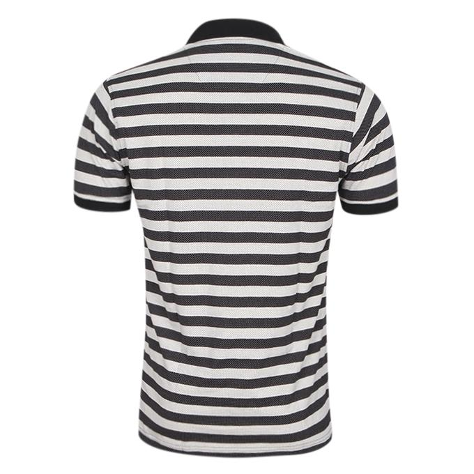 White and Black Cotton Casual Polo For Men