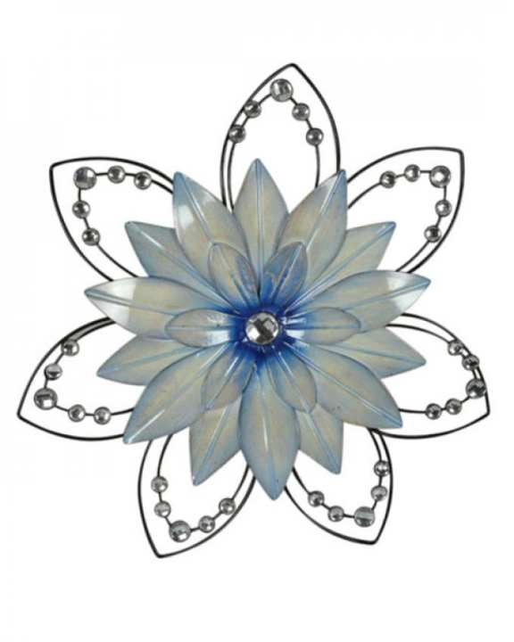Metal Flower Wall Decor with Intricate Petals & Stones - Sky Blue