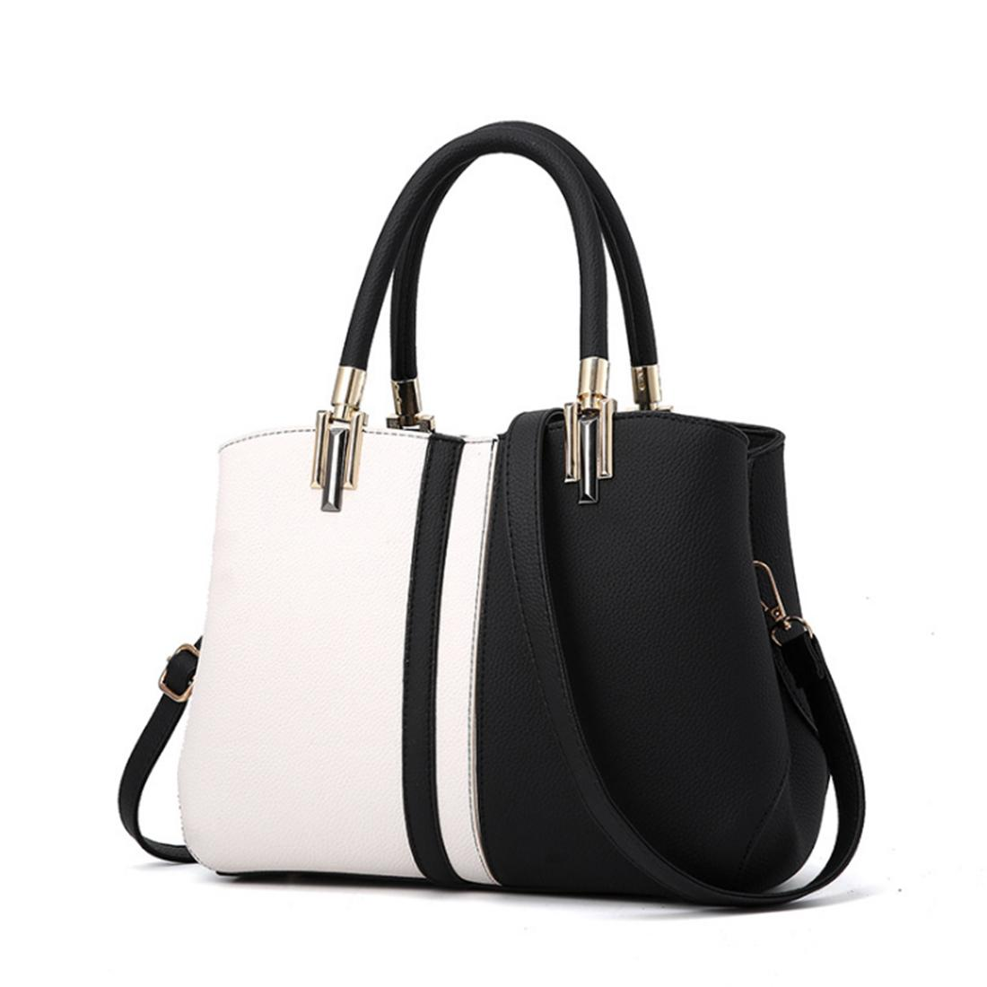 Fashion Color Matching Simple Style PU Handbag Casual Shoulder Bag - White + Black