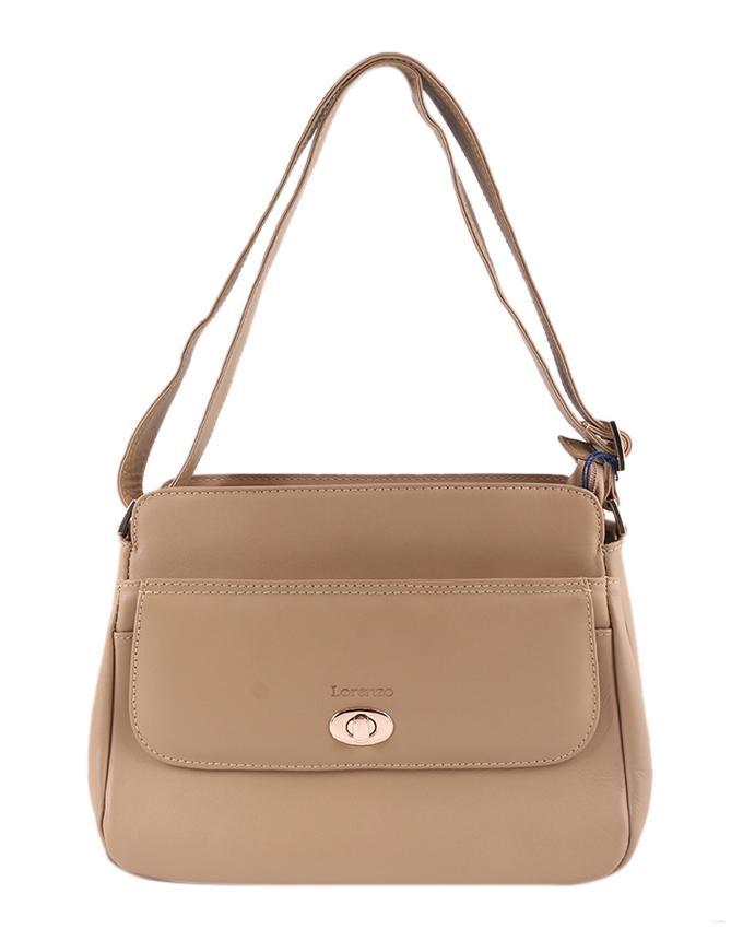 Lorenzo Leather Shoulder Bag For Women - Burly Wood