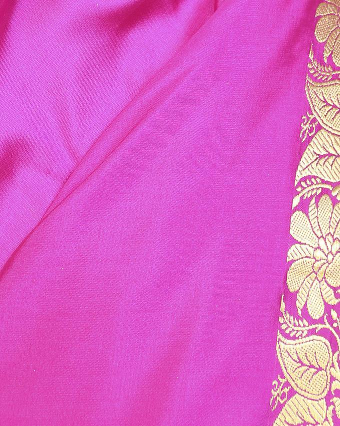 Katan Silk Party Saree - Pink and Golden