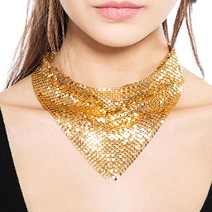 Golden Metal Tie Shape Choker Necklace for Women