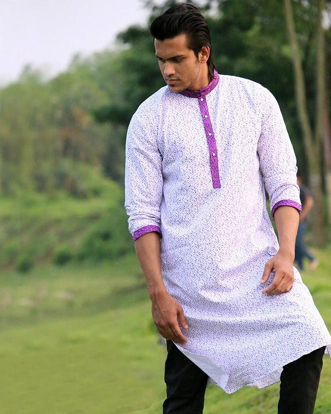 Cotton Casual Long Panjabi for Men - White and Violet