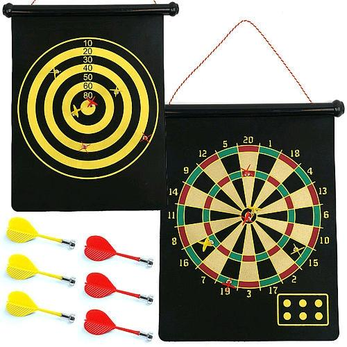 Magnetic Roll Up Dart Board and Bulls-eye Game with Darts-Black
