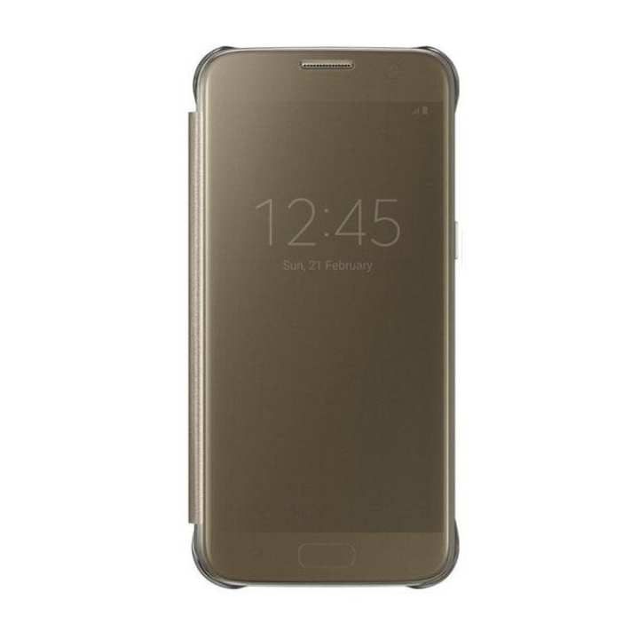 Clear View Cover for Galaxy S7 edge  - Gold