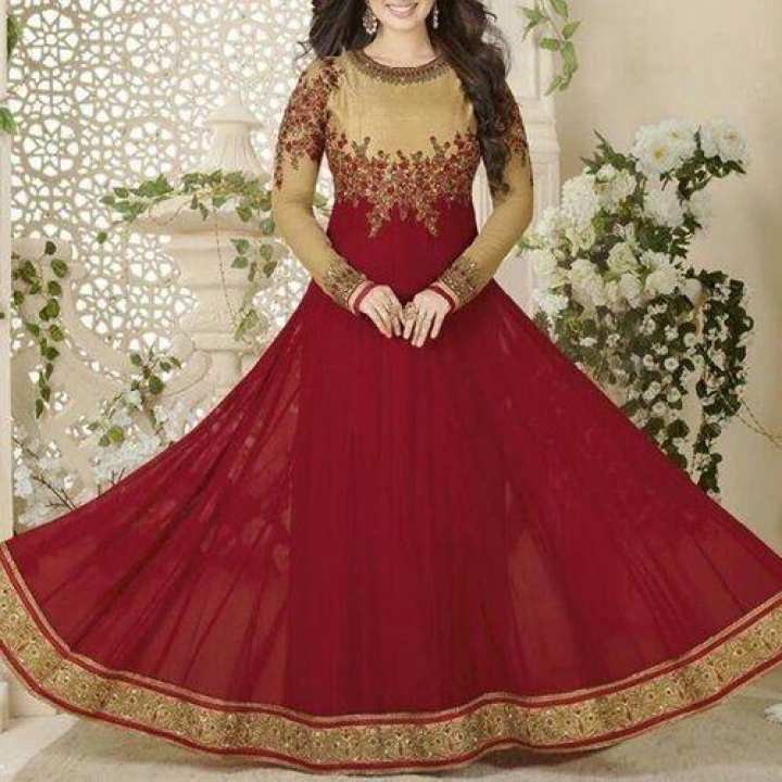Maroon and Golden Semi-Stitched Georgette Gown For Women