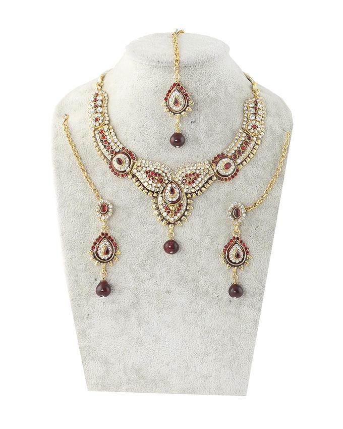Gold Body Stone Necklace with Earrings and Tickly - Gold Silver and Maroon