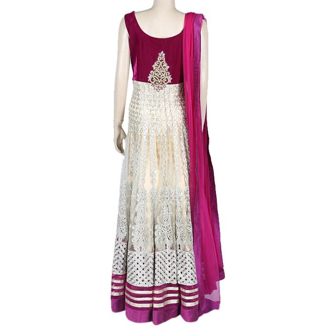 Georgette Casual Long Dress for Women - Purple and Cream