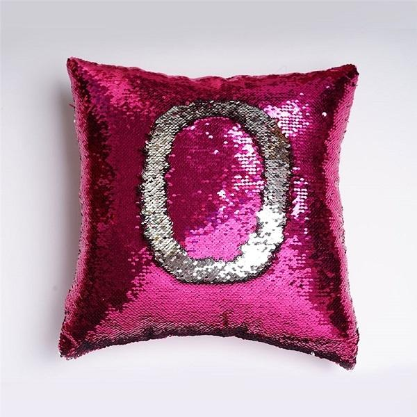 Sequin Mermaid Pillow - Hot Pink and Silver