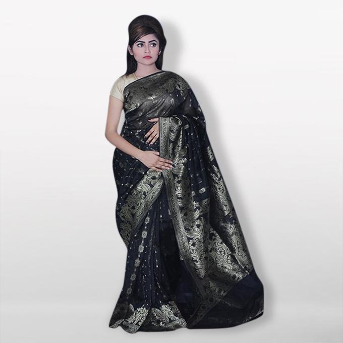 Black and White Silk Katan Sharee For Women