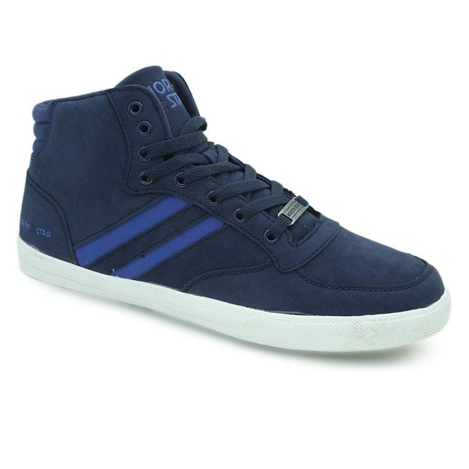 North Star Navy Blue PU Sneaker for Men