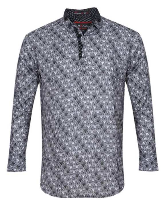 Casual Full Sleeve Cotton Fatua For Men - Gray and Black