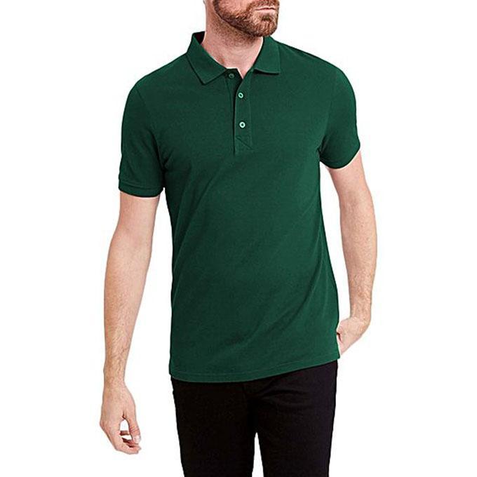 Green Cotton Polo for Men