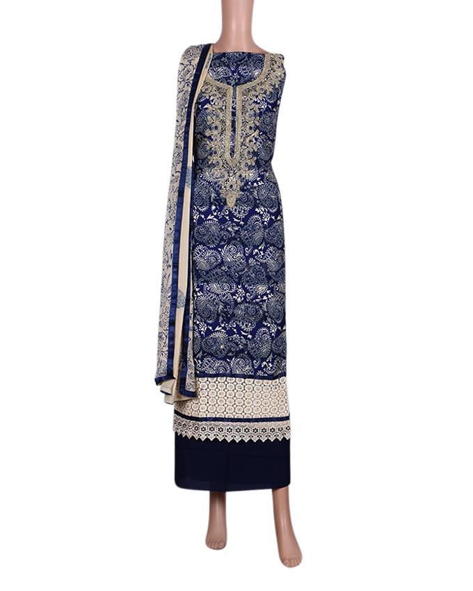 Unstitched Shalwar Kameez For Women - Navy Blue