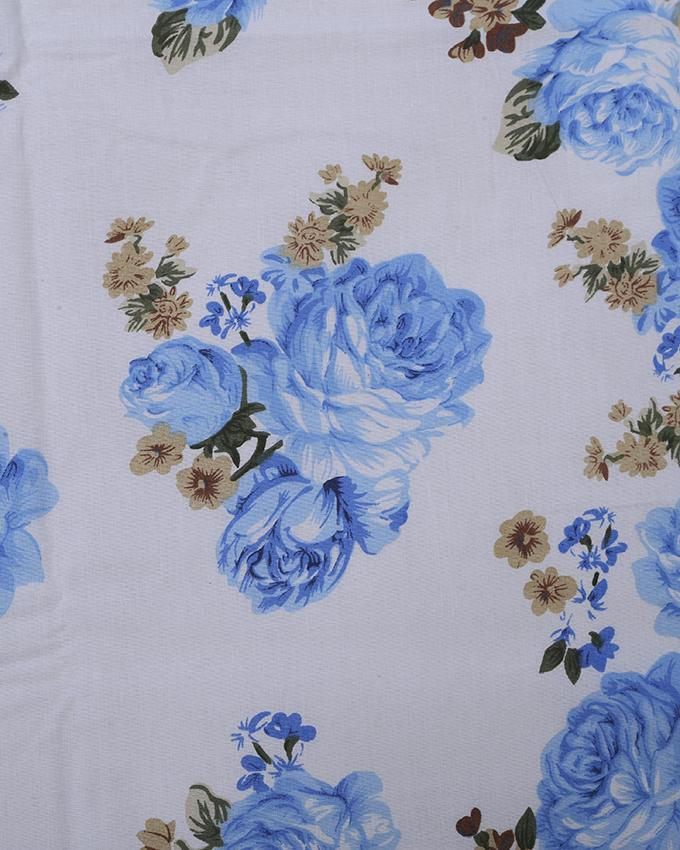 Cotton Printed Bed Sheet - White and Blue