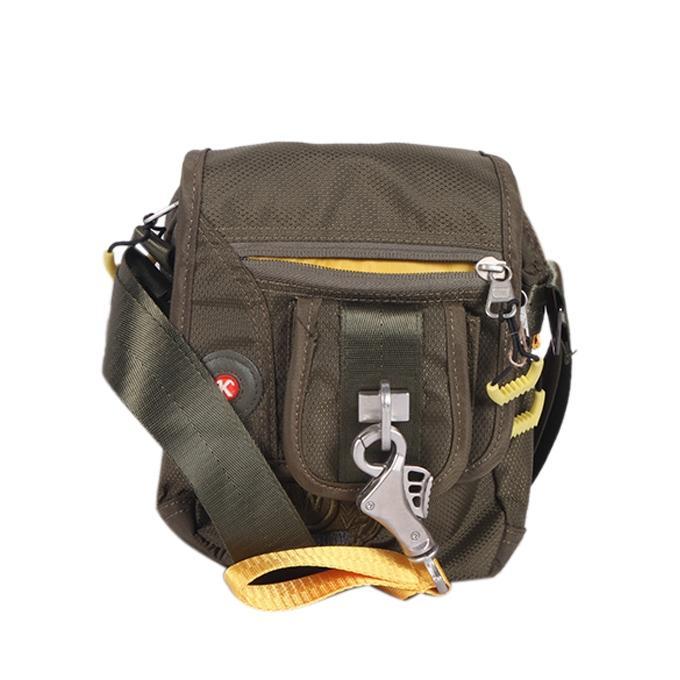 Dark Olive Green Polyester Messenger Bag For Men