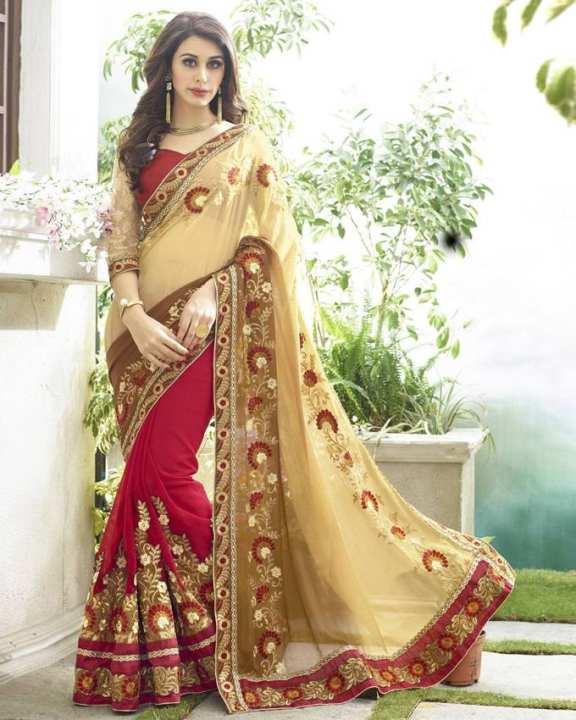 Dark Red and Golden Georgette Saree for Women
