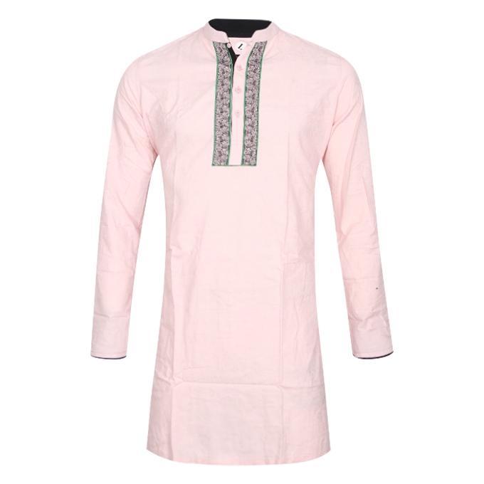 Light Pink Cotton Casual Panjabi For Men