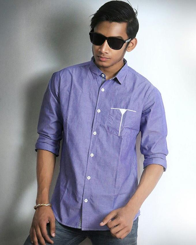 Cotton Full Sleeve Shirt For Men - Cornflower Blue