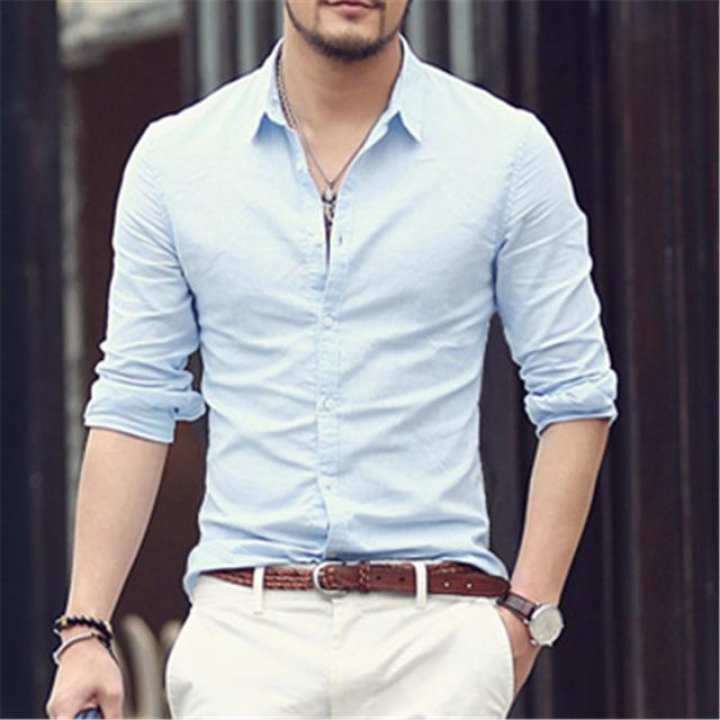 Sky Blue Cotton Long Sleeves Casual Shirt For Men
