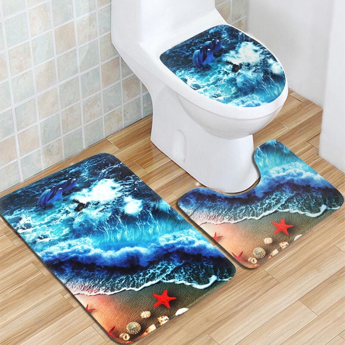 3pcs/set Summer Blue Beach Pattern Pedestal Rug + Lid Toilet Cover + Bath Mat